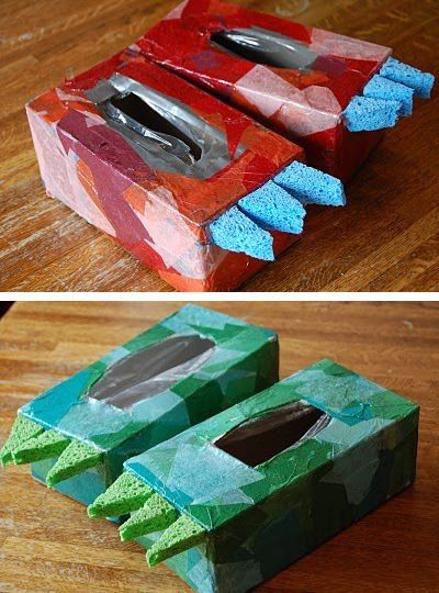 Dino shoes made from tissue boxes.