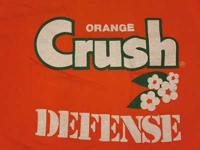 Vintage 80s Orange Crush Defense Denver Broncos T Shirt Medium Football NFL Soft | eBay $22.49. Everybody in Denver had one of these in the late 70's.
