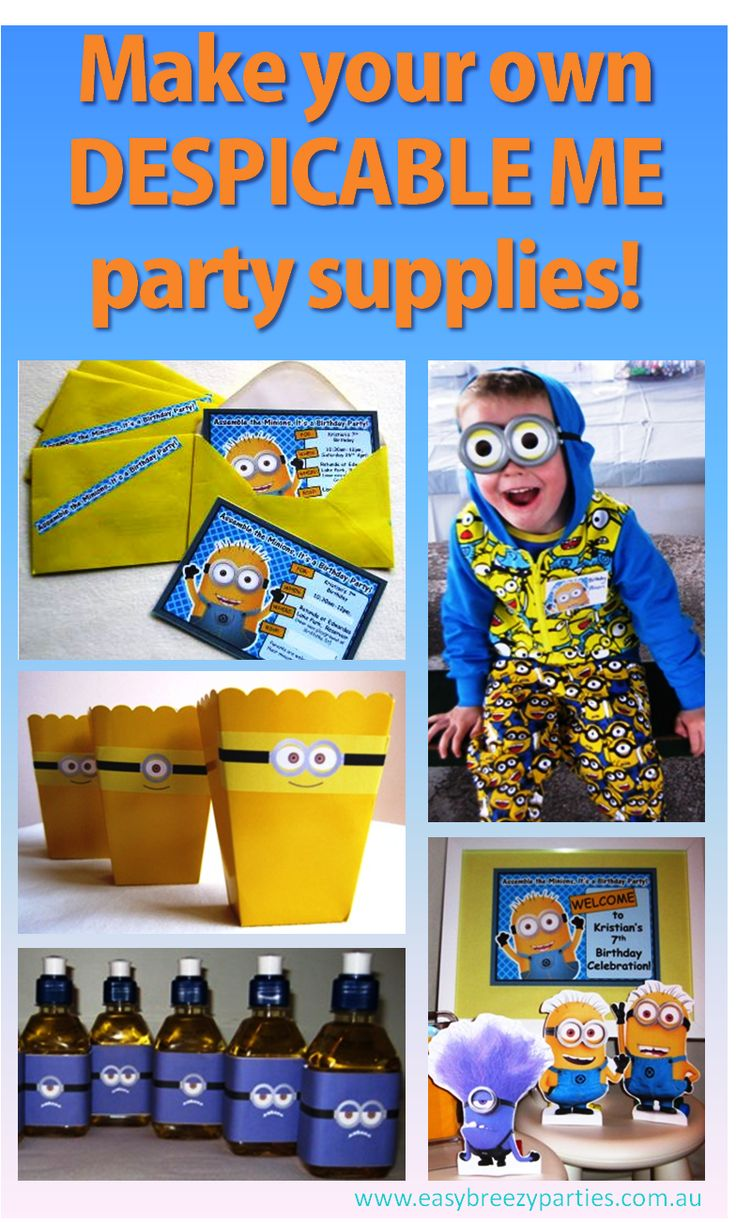 Create your own Despicable Me themed budget party invitations, bags and more, using budget party supplies and a printer. Read the blog to see how: http://easybreezyparties.com.au/party-inspiration-and-ideas/item/58-make-your-own-budget-despicable-me-party-supplies.html #despicableme #easybreezyparties