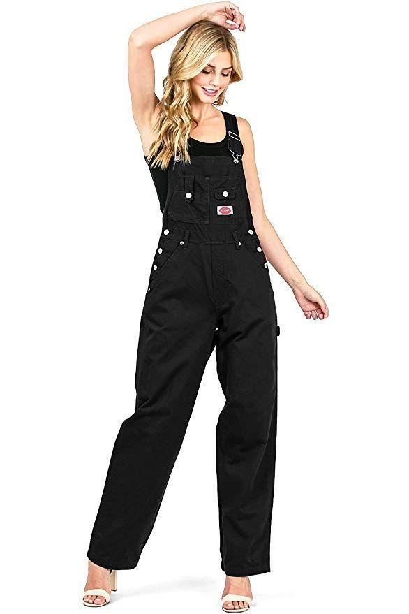 930edcc19bb47 Amazon.com: Revolt Women's Juniors Baggy Straight Leg Twill Overalls:  Clothing