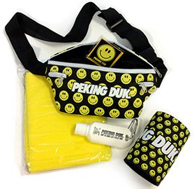 PEKING DUK FESTIVAL SURVIVAL PACK  Contents: - Peking Duk printed bumbag - Peking Duk mini sunscreen - A yellow poncho - Banana Flavoured Condom