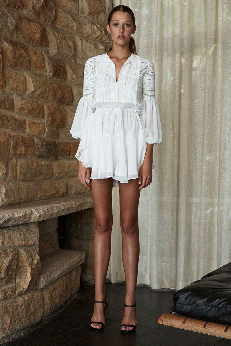 Shona Joy - Stevie Peasant Draw String Mini Dress - White