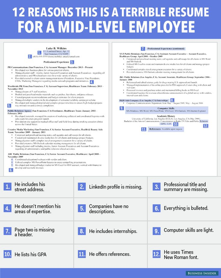 12 reasons this is a horrible rsum for a mid level employee resume tipsgood