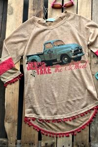 boutique clothing, Jesus Take The Wheel Top By Southern Grace - Tan