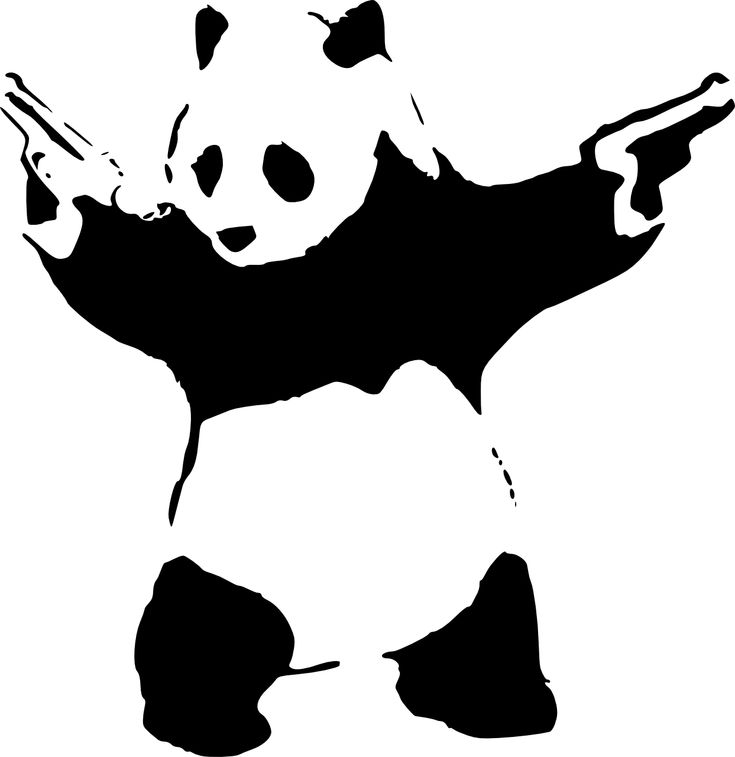 Gun-wielding Panda, stencil graffiti - The moral? Never let your panda come with you to the gun-store...K