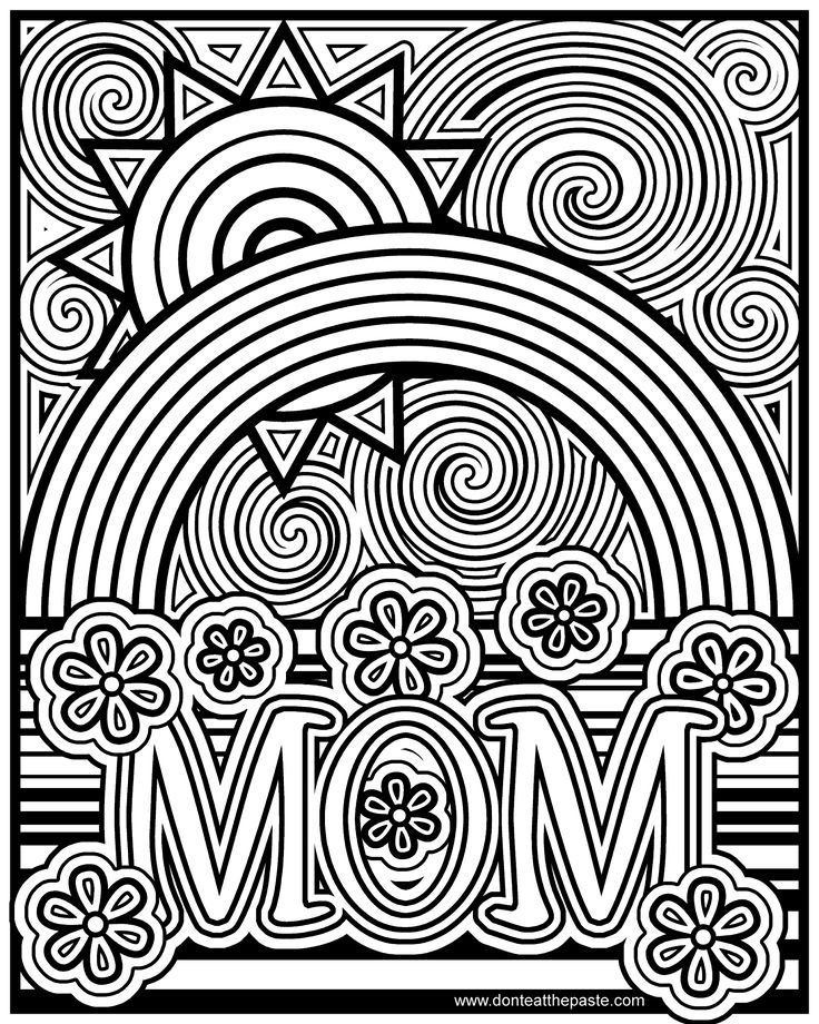 Mom Coloring Page With Rainbows Flowers And A Sun Available In Jpg Transparent Png