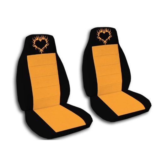 2 Black and Orange seat covers with a Burning Heart for a 2007 Honda Fit. Side airbag friendly.