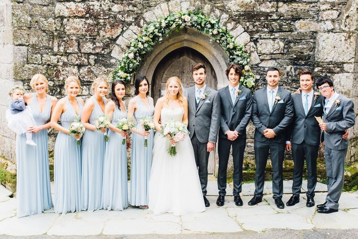 Wedding Party - Holly Collings Photography | Benjamin Roberts Bridal Gown | Pastel Wedding | The Vean Cornwall | Blue ASOS Bridesmaid Dresses