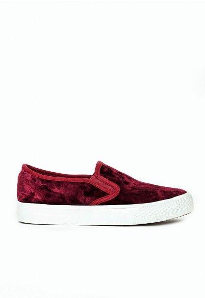Luna Velvet Skate Pumps Burgundy - Shoes - Missguided