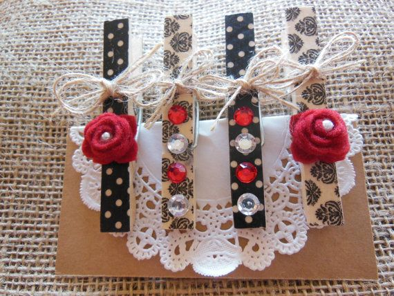 Altered Clothespin Chip by LavenderRoseBoutique on Etsy