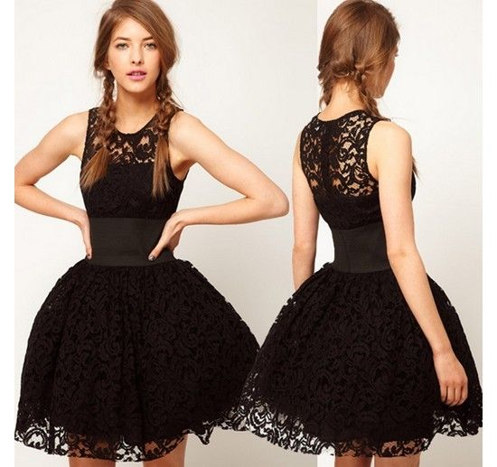 New Styles Black Lace Ball Gown Mini Sexy Style Day To Night Dress