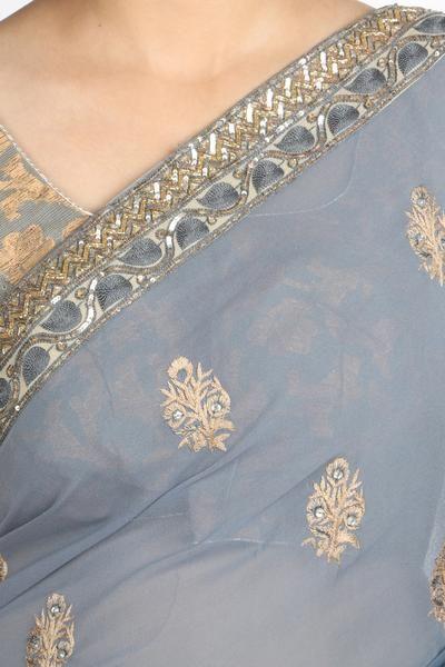 Grey Hand Embroidered Georgette Saree