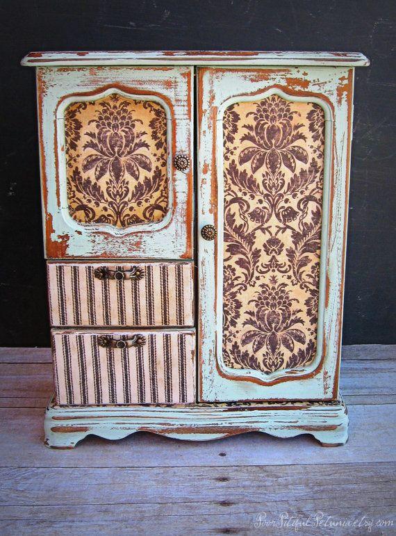 Vintage Jewelry Box Hand Painted Decoupage by PoorPitifulPetunia