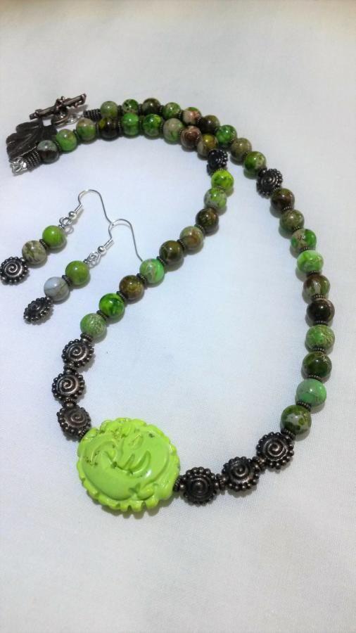 Green Turquoise & Green Sea Sediment Jasper Necklace & Earrings by BDBD Bead Designs by Debbie