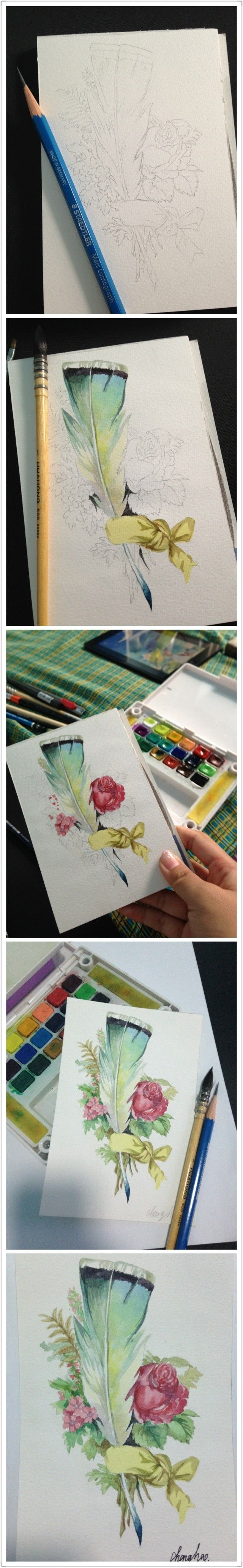 水彩插画 Feather, flower sketch illustration. Please also visit www.JustForYouPropheticArt.com for colorful, inspirational art and stories. Thank you so much.