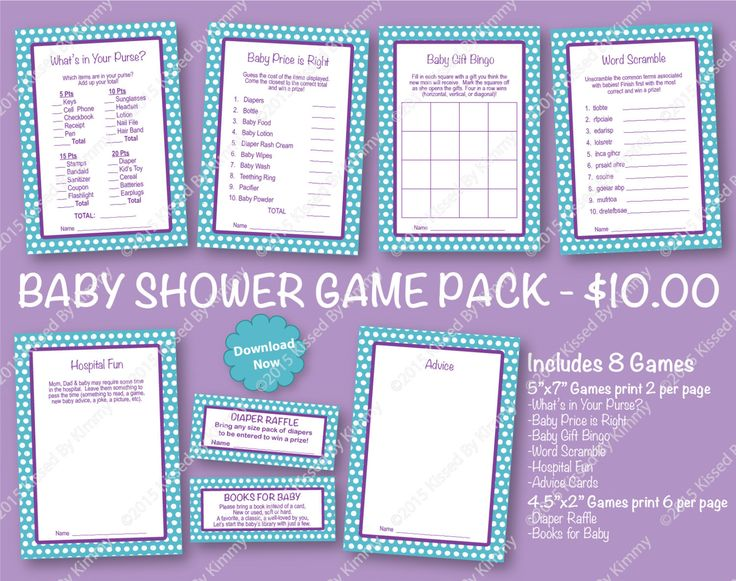 70% Off SALE Purple and Teal Baby Shower Game Pack - PRINTABLE Aqua Baby Shower Games- 8 Pack - LTeal Purple Lavender -Diaper Raffle Ticket by ShowerMyBaby on Etsy https://www.etsy.com/listing/265831651/70-off-sale-purple-and-teal-baby-shower