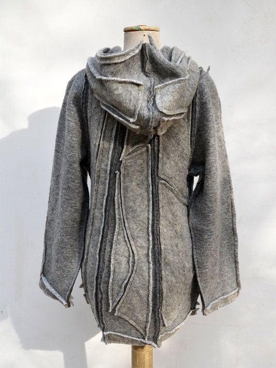 felted wool hoody jacket short coat grey steamed wool by ZOJKAshop