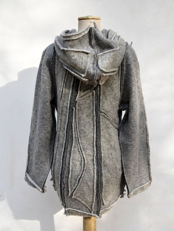 Felted wool hoody jacket short coat grey steamed wool fabric unique fashion…