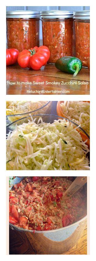 Making Smokey Zucchini Salsa! reluctantentertainer.com #zucchini #salsa #canning
