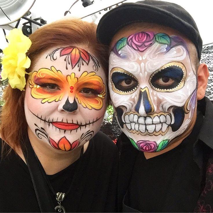 Dia de los muertos half face painting examples