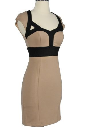 Beyonce Inspired Bodycon Pencil Dress in Taupe