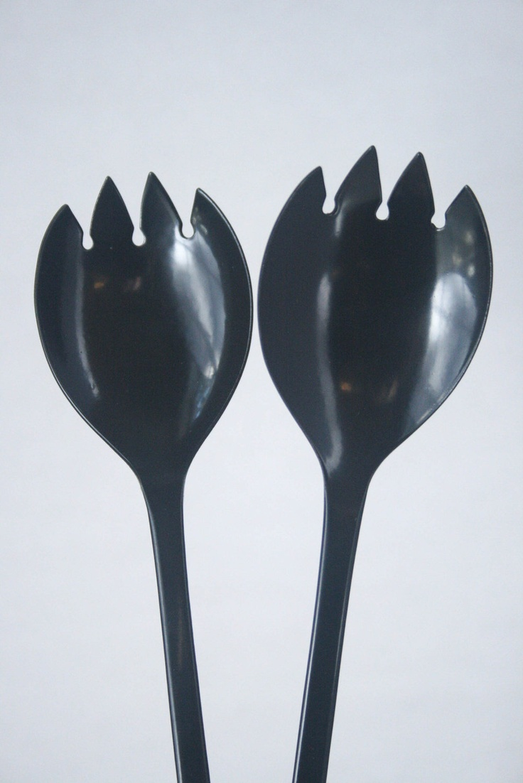 SALE Black Serving Utensils - Forks, Spoons, Sporks, Dark Gray, Scandinavian, Modern. $30.00, via Etsy.