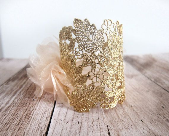 Vintage Style Gold Lace Bridal Cuff Bracelet by LottieDaDesigns