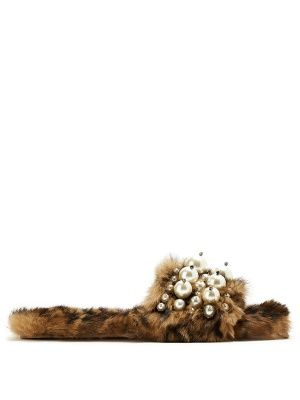 Embellished rabbit-fur slides | Miu Miu | MATCHESFASHION.COM UK