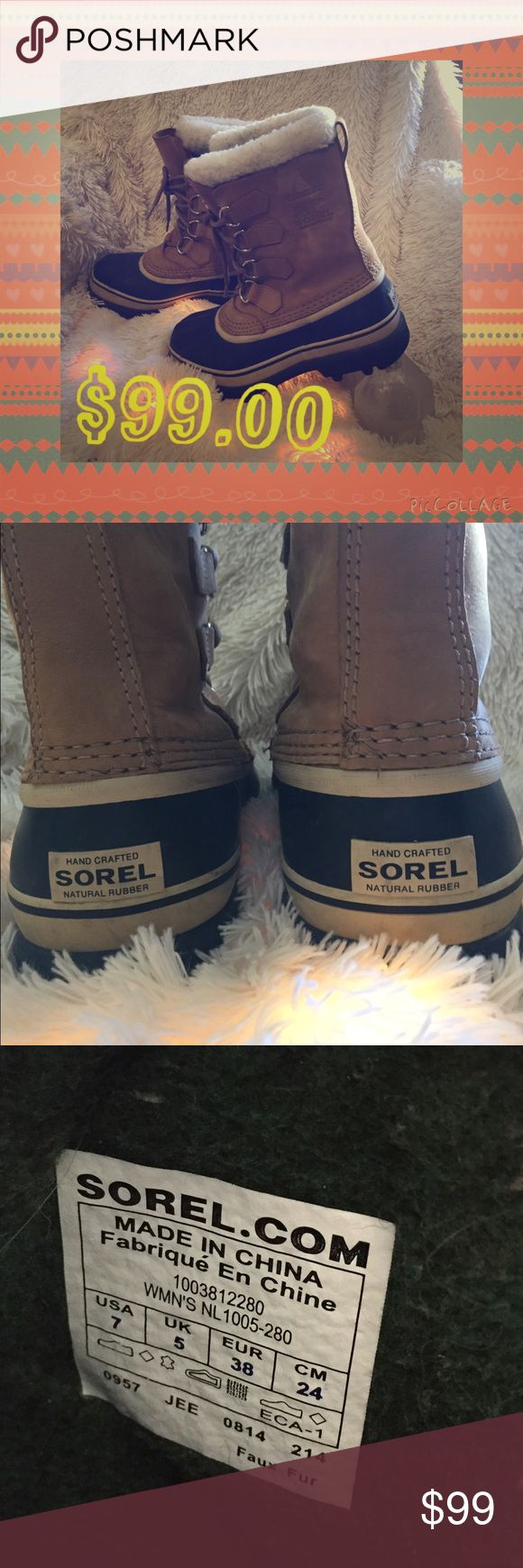 Caribou Sorel Boots, Size 7 Look stylish and comfortably warm during the winter months with the Caribou Sorel Boot! Absolutely the best boot ever. Excellent condition. I'm traditionally a size 7, however Sorels fit a size bigger so these will be perfect for a size 8 Sorel Shoes Winter & Rain Boots