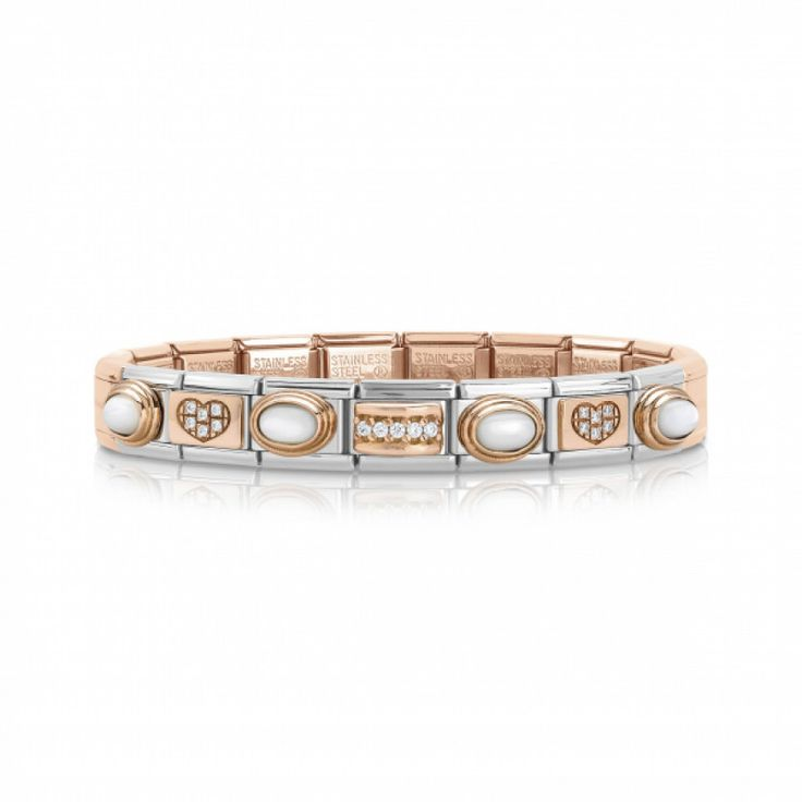 Composable Bracelet with Rose Gold base and Stones | Nomination Italy #composable #rosegold #nominationitaly #madeinitaly