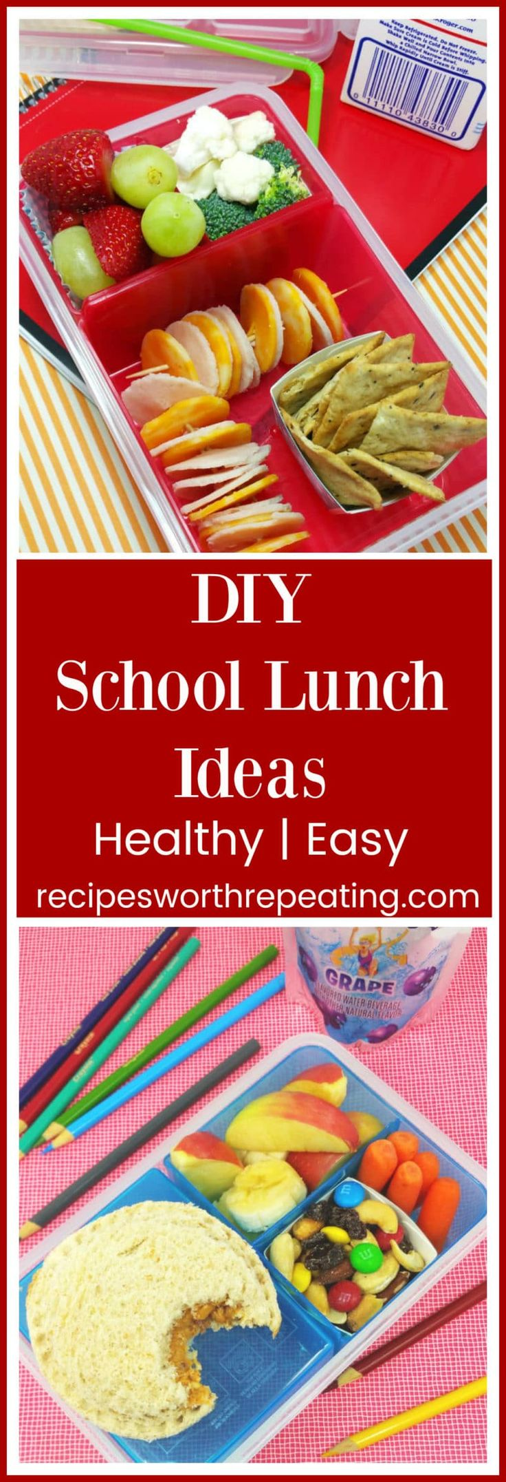 Buying school lunches can be so expensive, especially if your child's school offers an a la carte option like ours does! My kiddos were not on board to taking a packed lunch from home, but after we worked together and made their lunches fun and what they wanted to eat, they were on board! And it saved me a TON of money! I've got 3 healthy, fun and delish DIY School Lunches that your kiddos are guaranteed to love! #DIY #schoollunch #lunch #kidslunch #lunchideas | recipesworthrepeating.com