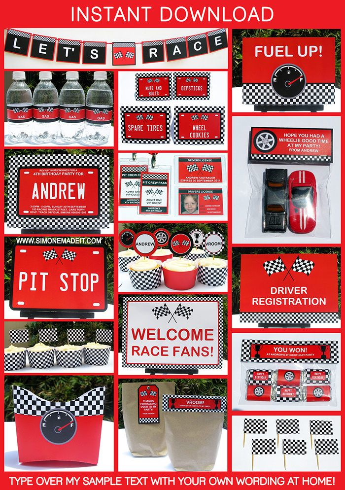 Race Car Birthday Party Printables | Race Car Invitations & Decorations | Theme templates
