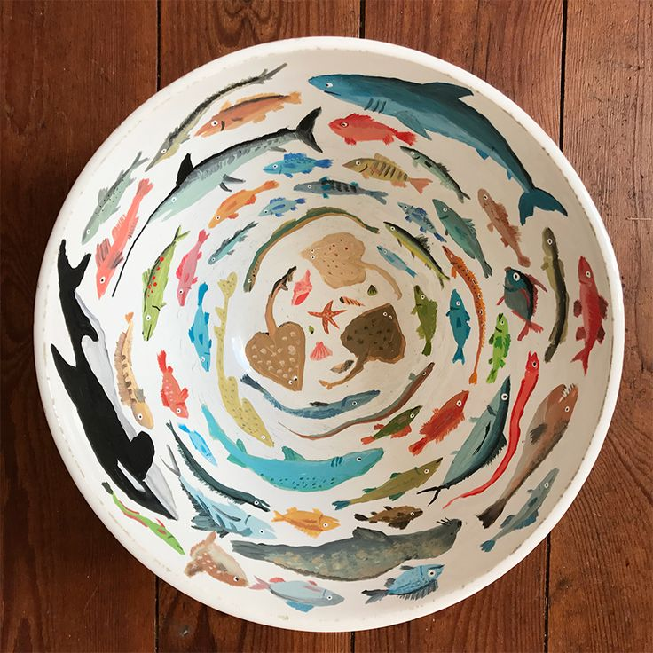Really neat ceramic bowl with painted ocean creatu…
