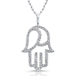 @Overstock - Sturdy 14-karat white gold holds the shape of this hamsa  pendant