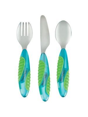 MUNCHKIN 011036 Sztućce metalowe 3 sztuki  • idealne dla dziecka • duże, poręczne rączki • zaokrąglone końce • łyżka, widelec i nóż w zestawie