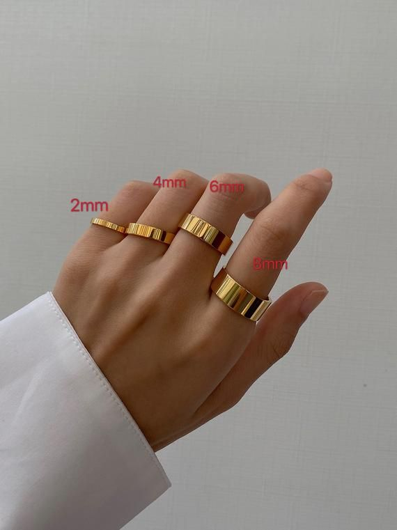 4mm open round rings gold-plated metal 18k Lot of 20