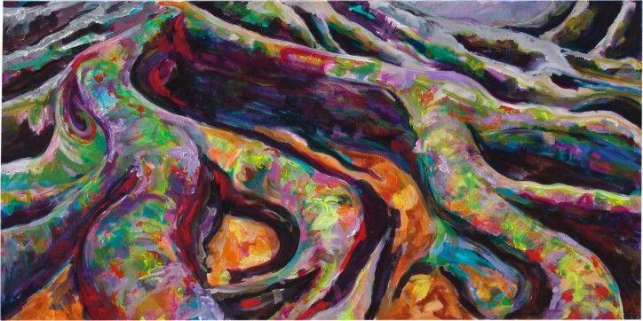 Antoynette Anema-Hendriks-schilderij-bos-warme-kleuren-boomwortels