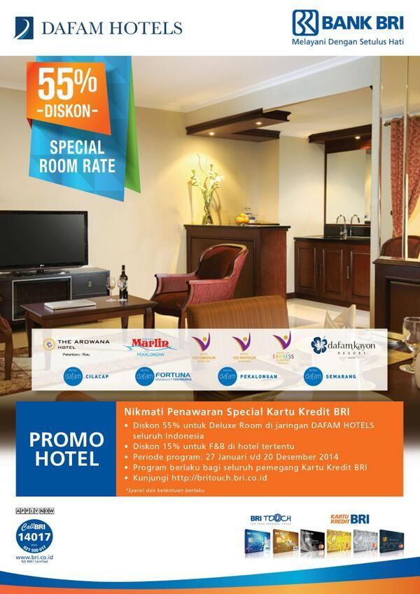 Dafam Hotel: Diskon 55% untuk Deluxe Room (BRI) @dafamhotels