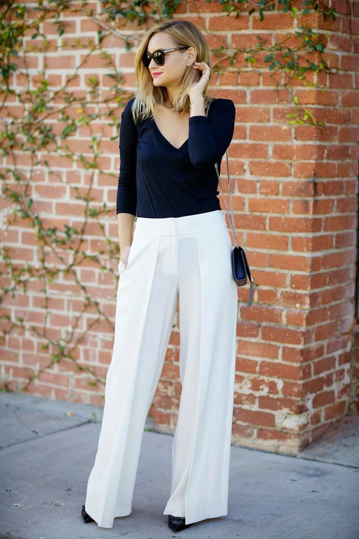 White high waisted flare trousers