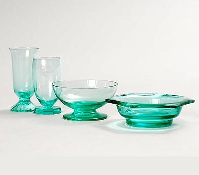 Small sea-green glass items 4x design A.D.Copier ca.1930 executed by Glasfabriek Leerdam / the Netherlands