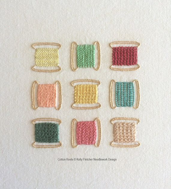 Cotton Reels modern hand embroidery pattern by KFNeedleworkDesign
