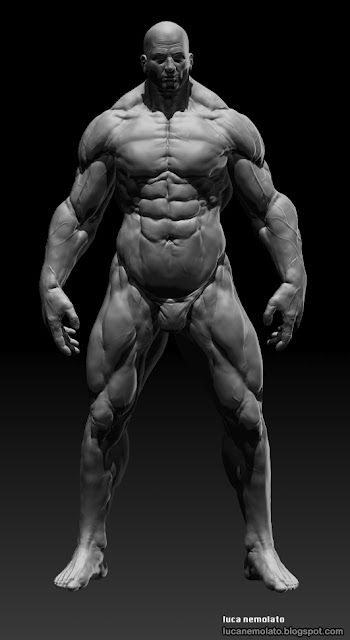 Extreme BodyBuilder - zbrush 2012  I'm working on my basemesh collection, for the first one I did an extreme bodybuilder, emphasizing all the muscles on the body.  8k Texture map , realized in photoshop and zbrush.