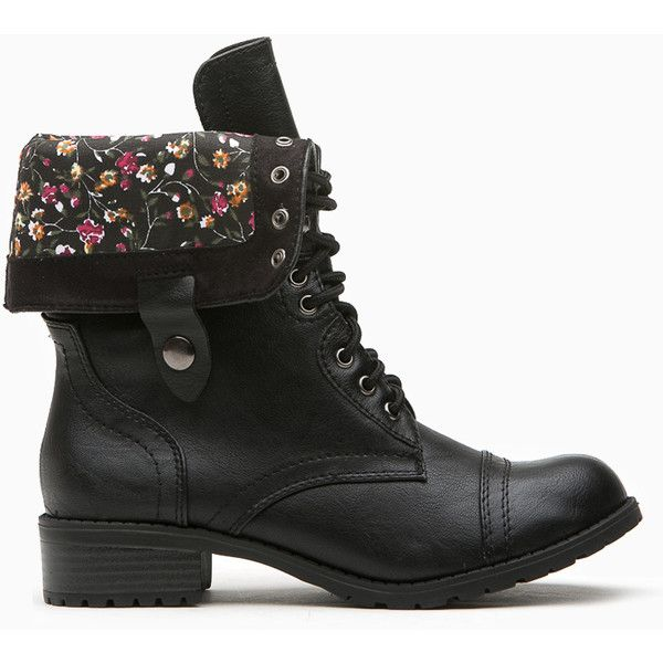 CiCiHot Black Faux Leather Flower Print Combat Boots ($38) ❤ liked on Polyvore featuring shoes, boots, ankle booties, black army boots, fold over booties, fold-over boots, military boots and flower combat boots