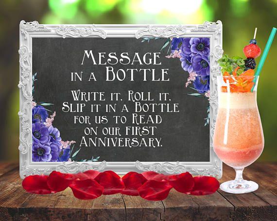 Flaschenpost Schild Nachricht in der Flasche Boho Hochzeit