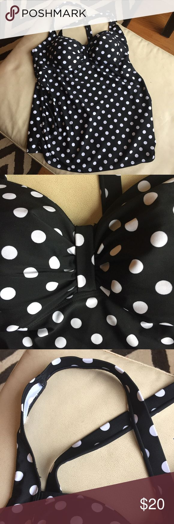 Cute Motherhood Polka Dot Tankini Top Swimwear SzM Excellent used condition. Super cute retro style tankini swim top to show off your baby bump this summer at the pool/beach! From Motherhood Maternity. Black and white polka dots.🌞🌊🏊🏻♀️ Motherhood Maternity Swim