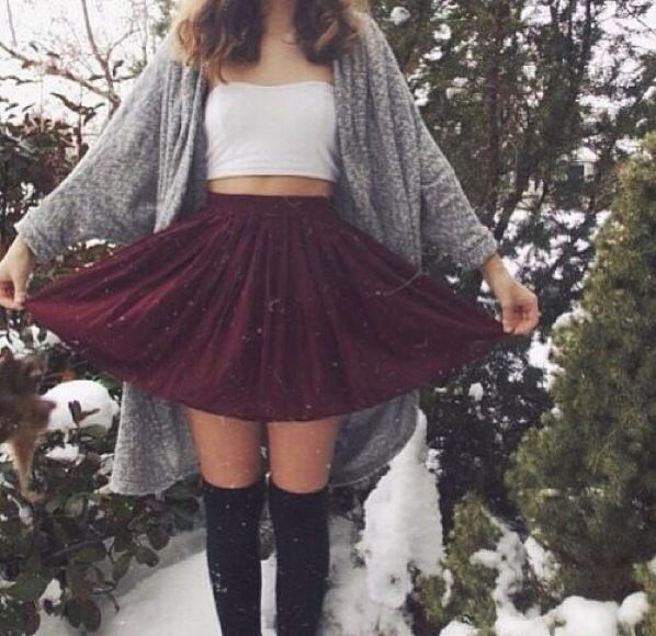 Aww OOTD I love that red color with that cute gray sweater and i absolutely love the way knee length socks look with short skirts