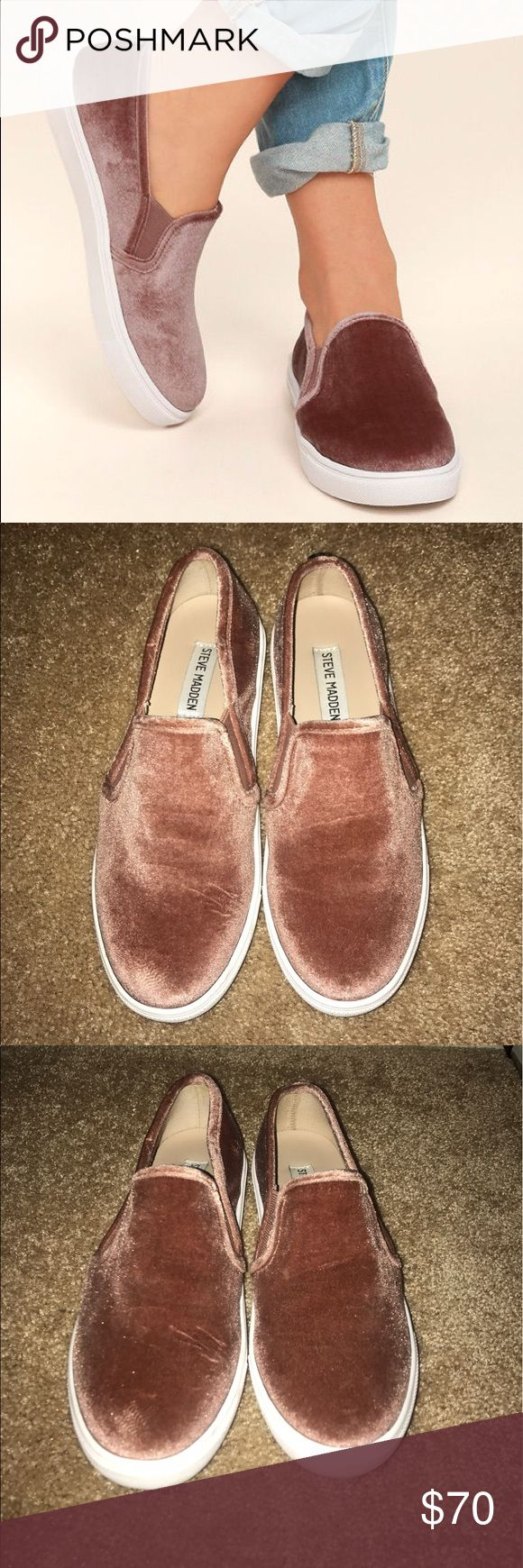 Steve Madden Ecntrcv Slip-on Sneaker Blush Slip-on Steve Madden blush pink Velvet sneakers. Worn once, in perfect condition purchased from the Steve Madden store. Steve Madden Shoes Sneakers