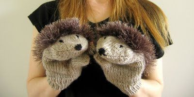 Hedgehog mittens; stick some fun fur on the back of the finished mittens, add two eyes and a nose.