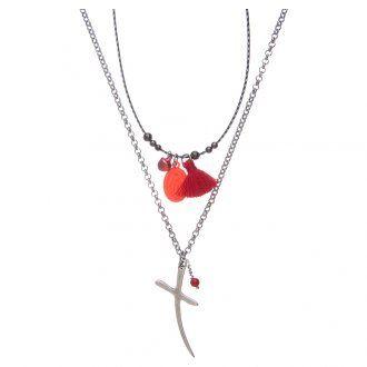 Collar con cruz, medalla Virgen Milagrosa y borla | venta online en HOLYART