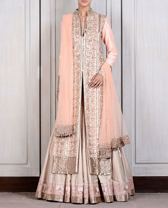 Beige Raw Silk Lehenga with Blush Jacket - Lenghas - Apparel